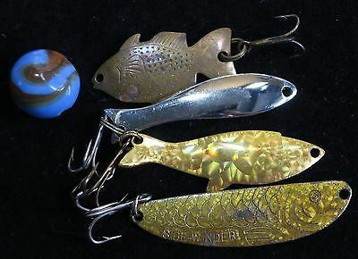 4 Vintage Fish Shaped Fishing Spoons; Three Golden Embossed With Details