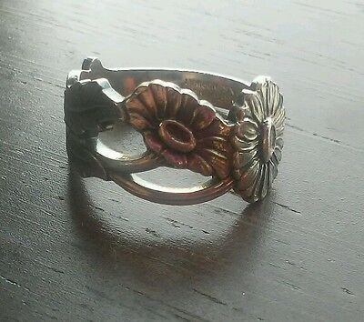 vintage TH Mathinsen Norway silver flower spoon ring