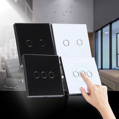 2/3Gang 1Way Wall Control Touch Light Switch Glass Panel LED Smart Controller TP