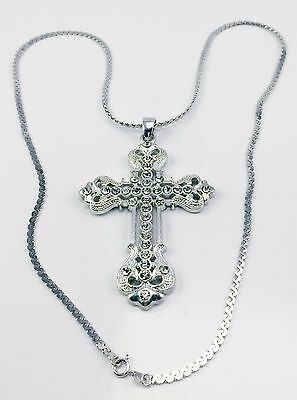 Vintage Over Sized Rhinestone Cross Pendant Necklace Chain Silver Christian