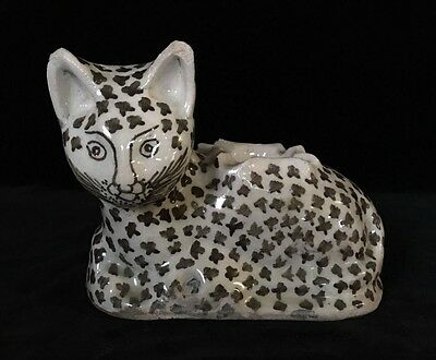 Antique Persian QAJAR POTTERY CAT Feline Kitty, Black & White, 19th Century
