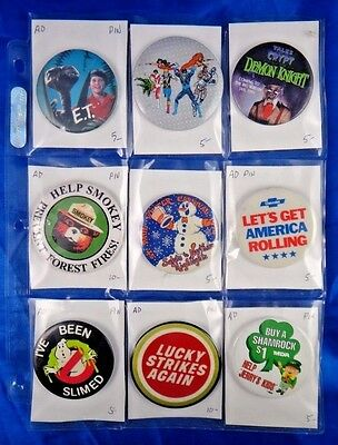 Lot of 9 Pins Pinbacks Buttons ET Smokey Lucky Strikes Shamrock Chevrolet