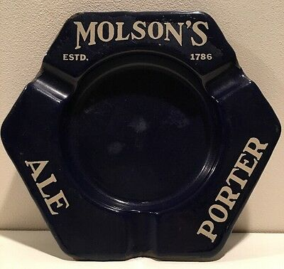 Vintage Beer Advertising Molson's Ale Porter  Blue Porcelain Metal Ashtray