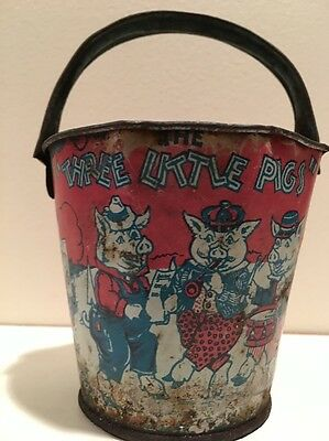 Three Little Pigs & Big Bad Wolf Tin Sand Pail Vtg Rusty Crooked AS-IS Beach