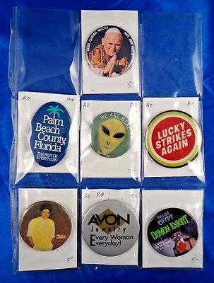 Lot of 7 Pins Pinbacks Buttons Pope John Paul III Michael Jackson Avon Jewelry
