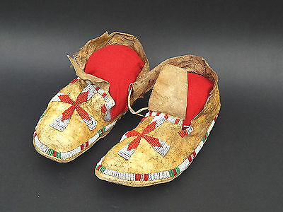 19th c. Native American Indian Plains SIoux Crow Beaded Moccasins Parflech