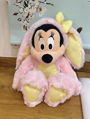 Disney Store Exclusive Minnie Mouse Pink Easter Bunny Rabbit Soft Toy Plush