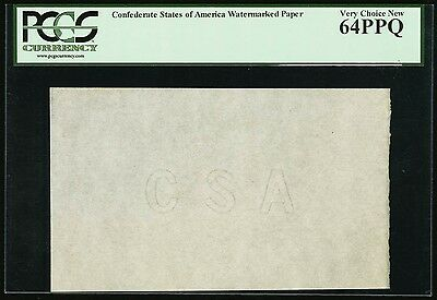 "1862 ""CSA"" Watermarked Confederate Banknote Paper - PCGS 64 PPQ"