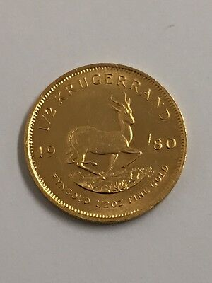 Krugerrand 1/2 (Half) Ounce 22ct Gold Coin (DATE 1980)