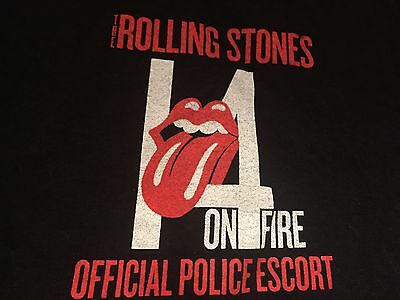 Genuine Rolling Stones 14 On Fire (Official Police Escort) Tour T-Shirt Size XXL