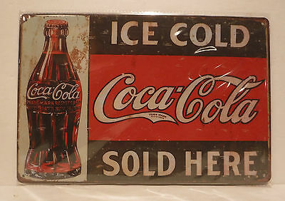 """Coke """"Ice Cold Coca-Cola Sold Here"""" Advertising Vintage Retro Style Metal Sign"""