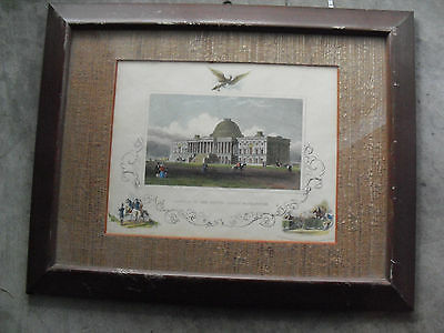 Vintage 1800s Tinted Engraving United States Capitol Building Tallis Framed