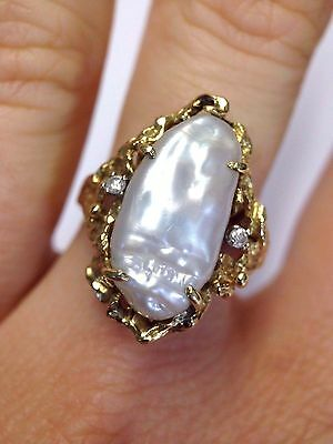 Pretty Free Form 14K Yellow Gold Diamond and Baroque Cultured Pearl Ring 7.75