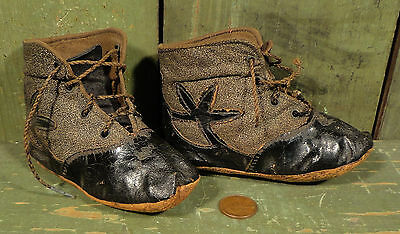Antique Victorian Two Tone, Leather & Fabric, Lace Up Baby Shoes, Boots
