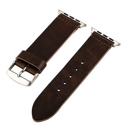 Clockwork Synergy Leather Strap for Apple Watch 42mm Worn Brown