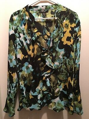 NEW YORK & CO womens dressy blouse Sz. 16P Petite ruffles. (S)