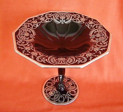 Cambridge Glass 925 Sterling Silver Overlay Black EBONY DECAGON Comport Compote