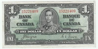 1937 Canada Canadian One 1 Dollar Note almost Uncirculated AU Bank of Canada