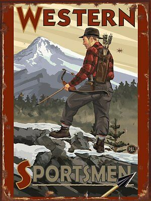 Western Spportsmen Bow Hunter Metal Sign