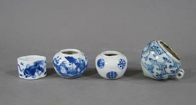 Lot Of Four Antique Chinese Blue & White Porcelain Bird Feeders #9