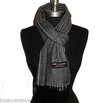 Women Men New 100% Cashmere Scarf Black/White Twill Check Plaid Wool Soft #G07