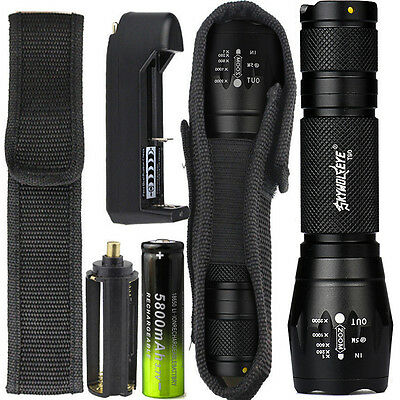 8000LM XML T6 Zoomable Tactical LED Flashlight Torch Lamp+18650 Battery+ChargerR