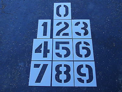 """10"""" Number Stencils for a Parking Lot Playground 1/16"""" ReUsable Flexible Plastic"""