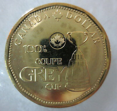 2012 100Th Grey Cup Loonie Uncirculated From Mint Roll