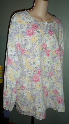 Floral Scrub Jacket Size 3X Multi Color Polyester Cotton Two Pocket