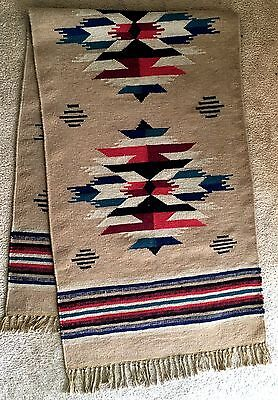Vintage Chimayo Hand Woven Wool Rug 8 by 2.5 Ft
