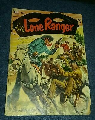 LONE RANGER #51 PAINTED COVER GOLDEN AGE 1952 COMIC gd dell MOVIE LOT COLLECTION