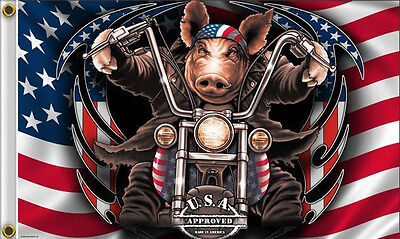 NEW 3x5 GREAT AMERICAN HAWG HARLEY MOTORCYCLE BIKER HOT LEATHERS FLAG