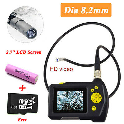 2.7'' Video Recordable Inspection Camera 8.2mm LED Borescope Endoscope Zoom +8GB