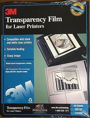 Brand New Factory Sealed 3M Transparency Film CG3300 for Laser Printers 50 Shts