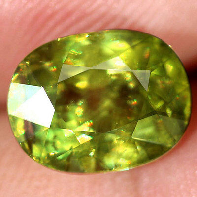 5.92Ct.superb! Oval Facet Yellowish Green Natural Sphene Madagascar