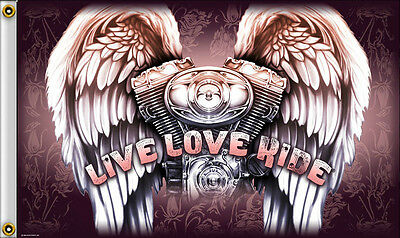 NEW 3x5 LIVE LOVE RIDE MOTORCYCLE HOT LEATHERS BIKER FLAG
