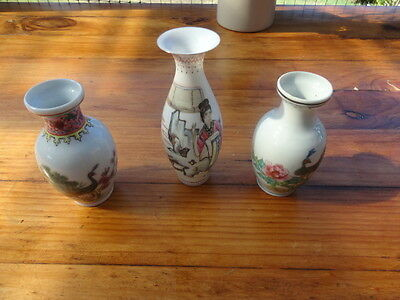 Three Vintage Chinese Small  Hand Painted Vases