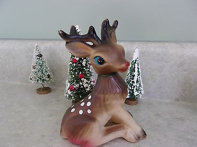 """Vtg.rubber Christmas Deer-Movable Head-5 1/4""""tall~Decoration-Gift-Toy-Japan~~"""