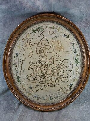 1799 CROSS STITCH SAMPLER MAP OF ENGLAND & Wales