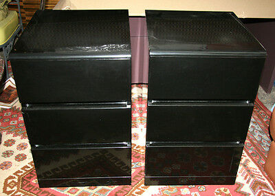 Furniture, Villeny Black Side Tables (Pair), Three Drawer Black Bedside Table