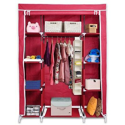"50"" New Portable Closet Storage Organizer Colthes Wardrobe Rack Shelf Wind Red"