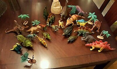 29 Piece LOT of Schleich and Safari Ltd Dinosaurs includes Trees and a VOLCANO