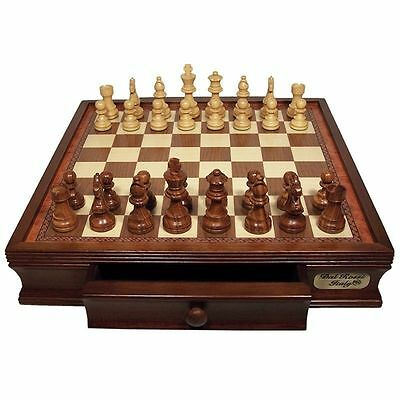 """Dal Rossi Italy Wooden Chess Set 16"""" with Drawers & 85mm Pieces"""