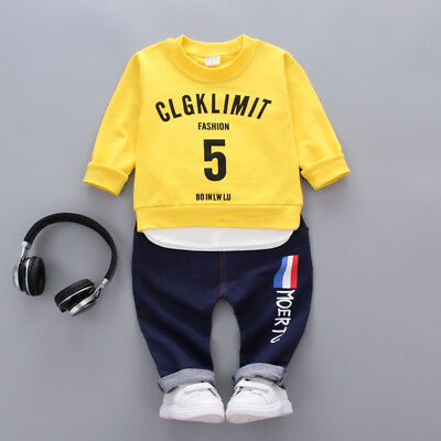 2PC Toddler Baby Boy Girl Outfits Clothes T Shirt Tops+Pants Kids clothing Sets