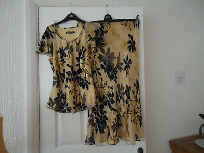 Jacques Vert Silk Gold And Black Lined 2 Piece Size 10/12