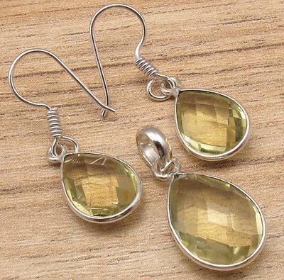 Drop Yellow LEMON QUARTZ Earrings, Pendant Silver Plated Exceptional Jewelry SET
