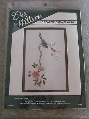Large Elsa Williams Crewel Work Kit  Bird On Branch With Flowers   New