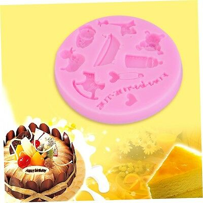 Giraffe Bath Duck Baby Fondant Mold Silicone Cake Emboss Decorating DIY Mould F5