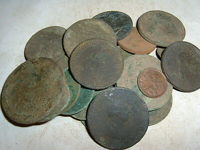 25 as dug old english coins (metal detecting finds) 1