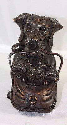 Black Forest Hand Carved Wood Fox Cubs And Dachshud Dog Inkwell